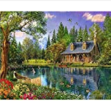 HJHJHJ Classic Jigsaw Puzzles 1500 Pieces Adults Puzzles Wooden Puzzles Lake Ferry Cabin Scenery DIY Modern Art Home Decor