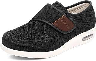 CCSSWW Confortable Sandales Pied Large Chausson,Chaussures à Pas diabétiques, Baskets Respirantes-Noir_49,Hommes Chaussons...