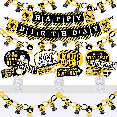 Big Dot of Happiness Happy Quarantine Birthday - Banner and Photo Booth Decorations - Social Distancing Party Supplies Kit - Doterrific Bundle