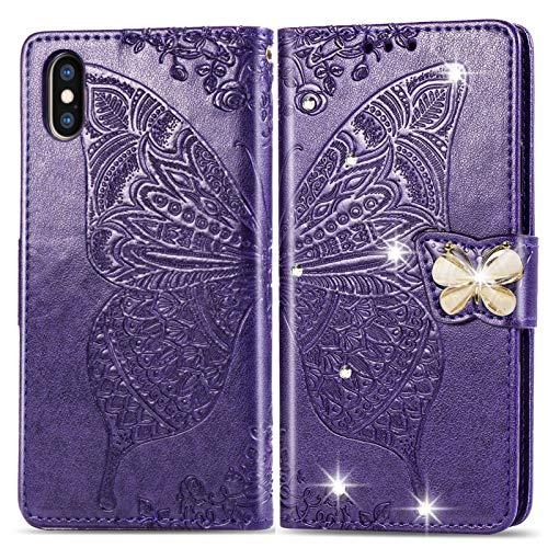 Oihxse Coque pour Honor 9X à rabat en cuir de première qualité, motif papillon, ultra fine, en polyuréthane + TPU avec fentes pour cartes avec strass pour filles, violet foncé