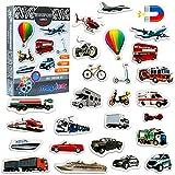 MAGDUM Imanes nevera niños Vehículos y medios de Transporte - 25 Grandes imanes bebes - Montessori bebe - Juguetes bebes - Juegos educativos niños - Nevera juguete - Iman de nevera - Regalo niña