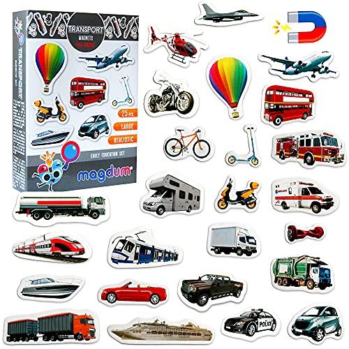 MAGDUM Magnet frigo Enfant Transport - 25 Grande Magnet Enfant - Frigo Jouet - Frigo Enfant Jouet - Aimant frigo Enfant - Jouet Enfant 3 Ans - Jeu educatif - Emants magnetique - Voiture Enfant