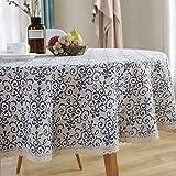 AMZALI Vintage Washable Cotton Linen Fabric Navy...