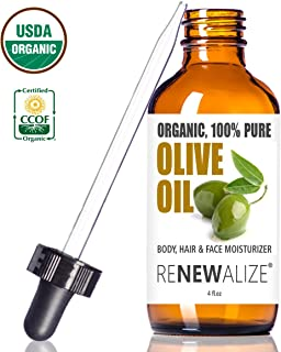USDA Certified Organic Olive Oil - Dry Skin Body and Hair Moisturizer in 4 oz. Dark Glass Bottle | Best Quality 100 Percent Pure Unrefined Extra Virgin Cold Pressed | Hot Oil Treatment | Nail Care