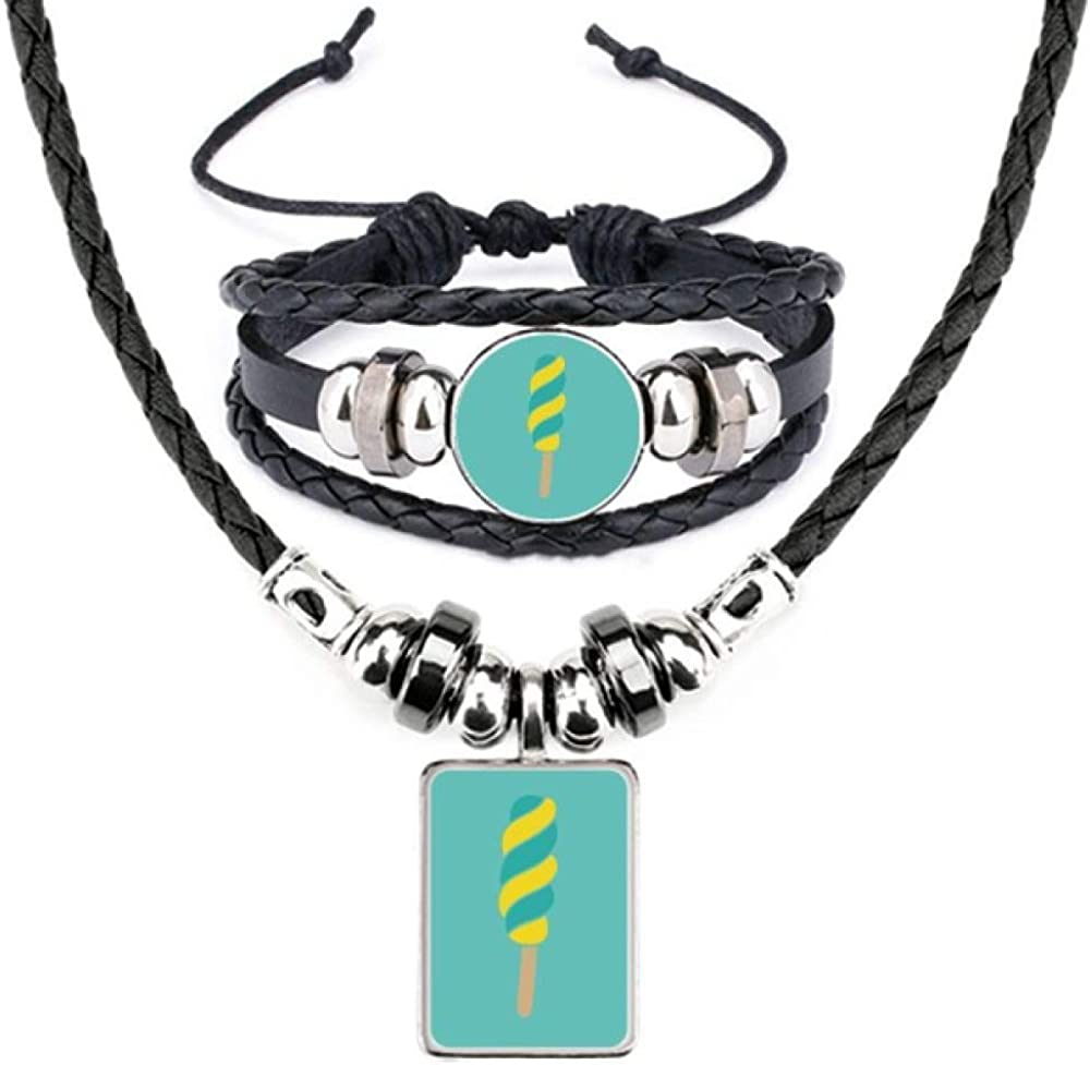 Yellow Green Spiral Sweet specialty shop Ice Leather Je supreme Cream Bracelet Necklace