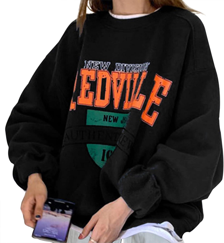 Meladyan Women Fleece Oversized Sweatshirt Reoville Letter Graphic Print Pullover Crewneck Long Sleeve Loose Jacket Top