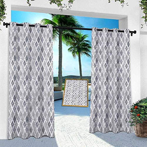 Patio Outdoor Curtain, Abstract,Square Shaped Lines Dots, 100' x 108' Heavy Duty Indoor Panel for Porch Balcony Pergola Canopy Tent Gazebo Window(1 Panel)