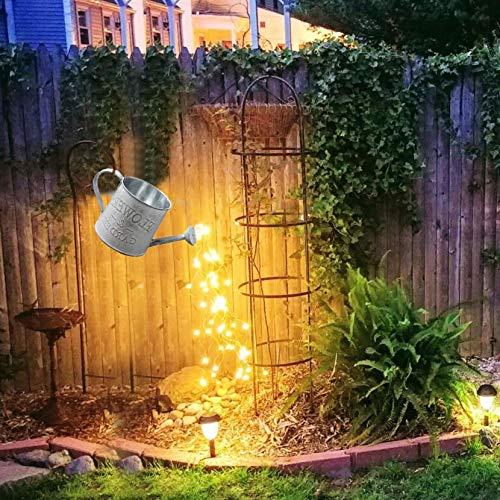 Star Shower Garden Art Light Decoration, Butterfly/Ladybug/Elephant Led String Lights Garden Solar Lights, Waterproof Watering Can Fairy Light Shape Light with Bracket (F)