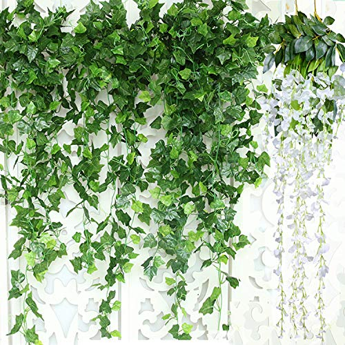GuassLee Artificial Ivy Leaf Garland Plants Vine - 84 Ft-12 Pack Greenery Fake Foliage Garland Hanging with 2pcs Wisteria Vine Gift for Wedding Party Garden Home Kitchen Office Wall Decorations
