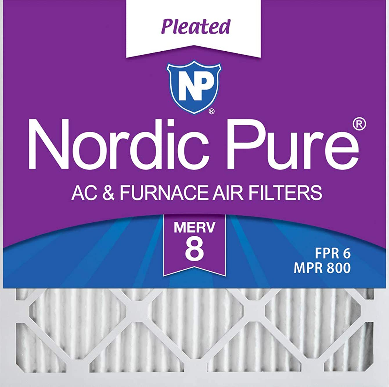 Nordic Pure 20x20x1 MERV 8 Pleated AC Furnace Air Filters, 20x20x1M8-6, 6 Pack