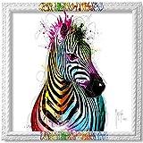 Patrice Murciano Collector Prestige Zebra Pop - Tableau sur Toile tendue Cadre Baroque Blanc avec Dripping de...