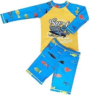 طقم ملابس سباحة للأطفال برسمة ديناصور الحوت من قطعتين قميص طويل الأكمام + بدلة سباحة للأطفال الرضع راش جارد بدلات استحمام