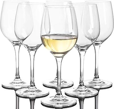 Set of 6, 10-Ounce Crystal White Wine Glasses, Italian Machine Made, Clear Glass Wine Stemware for Port Wine, Dessert Wine, Home Bars and Kitchen Glassware