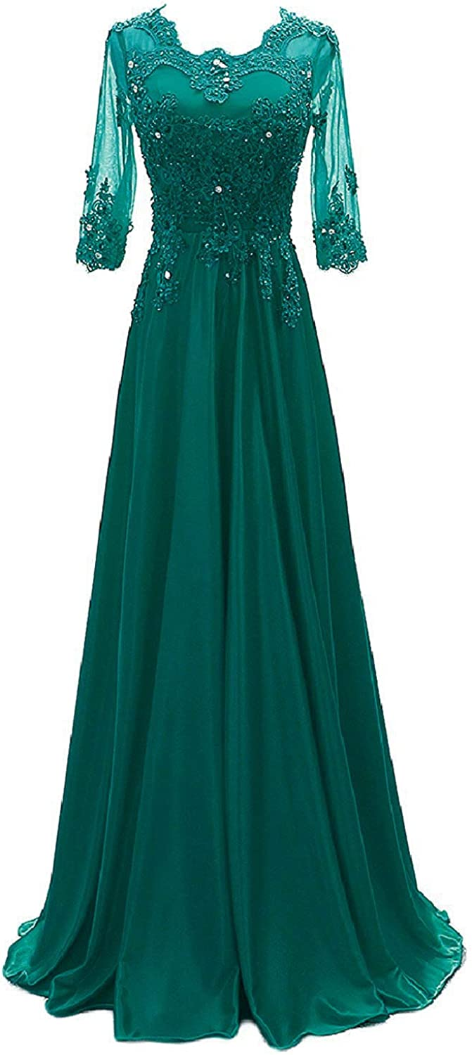 DINGZAN Woman's Half Sleeves Satin Bridesmaid Dresses Formal Gowns with Applique