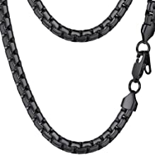 PROSTEEL Stainless Steel Flat Box Chain Necklace, Silver/Gold/Black Tone, Nickel-Free, Hypoallergenic Necklace, W: 4mm/6mm...