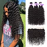 Aatifa Water Wave Lace Frontal with Bundles Ear to Ear Lace Frontal with Baby Hair Pre Plucked Frontal Brazilian Virgin Human Hair Bundles with Frontal(18 20 22 + 16 frontal)