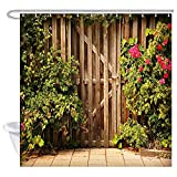 N / A Rusitc Farmhouse Shower Curtain Plants and Flowers in Front of Wooden Doors in Rural Farmhouse Bath Curtains Polyester Fabric-W180cmxH200cm