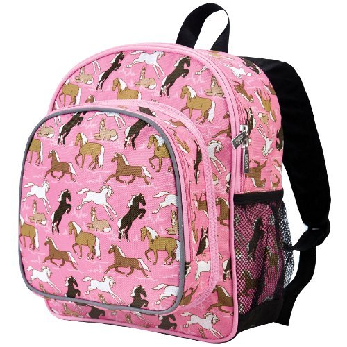 Wildkin 12 Inch Backpack, Includes Insulated, Food-Safe Front Pocket and Side Mesh Water Bottle Pocket, Perfect for Preschool, Daycare, and Day Trips – Horses in Pink by Wildkin