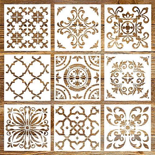 Mandala Schablone, 9 Stück Wiederverwendbare Laserschnitt Malschablone/Airbrush Vorlage, Mandala Dotting Schablonen für Wand/Stein/Holz Möbel/Malen Vorlagen(6x6 Zoll)