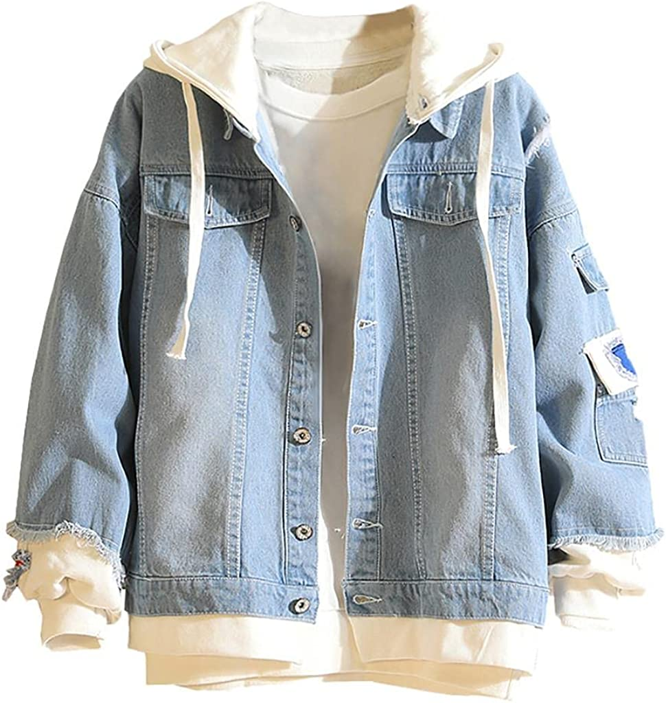 Men's Denim Jackets Button Down Hooded Coats Casual Vintage Wash Distressed Jeans Outwear Blouse with Pockets