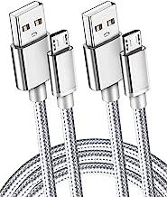 2 بسته 6Ft فوق العاده طولانی 2.1A سریع میکرو USB کابل شارژ سریع سریع برای روشن شدن هارد، HDX، سامسونگ کهکشان S7 لبه / S6 / S5، توجه داشته باشید 5/4، LG G4، موتورولا موتور E5 G5 بازی، کنترل PS4، قرص Android تلفن