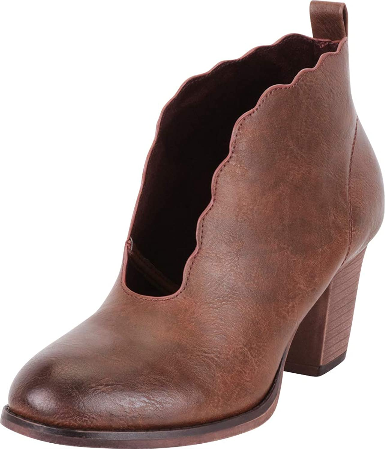 Cambridge Select Women's Distressed Scalloped Front Cutout Stacked High Heel Ankle Bootie