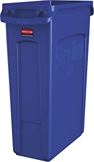 Rubbermaid Commercial Products Slim Jim Plastic Rectangular Trash/Garbage Can with Venting Channels, 23 Gallon, Blue (1956185)
