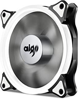 Aigo, Halo Ring LED 120mm 12cm PC CPU Computer Case Cooling Neon Quite Clear Fan Mod 4 Pin/3 Pin (120mm, White)