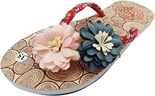 Voberry Summer Women's Non-Slip Flower Flip Flops Sandals Flat Beach Slippers Shoes