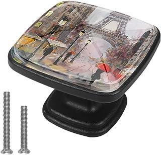 Juego de 4 tiradores para armario de cocina cuadrados mango de cajón de aparador color gris acuarela Paris Tower