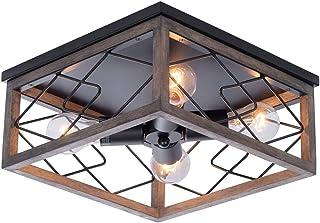 Lámpara de techo Farmhouse iluminación de Plafón rústica de metal negro, lámpara de araña de jaula de alambre cuadrado industrial con 4 portalámparas E27 para pasillo, cocina, comedor, sala de estar