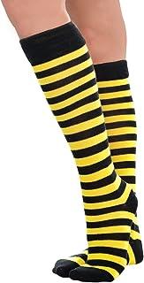 amscan Bee Stripe Knee High Socks One Size, Multicolor