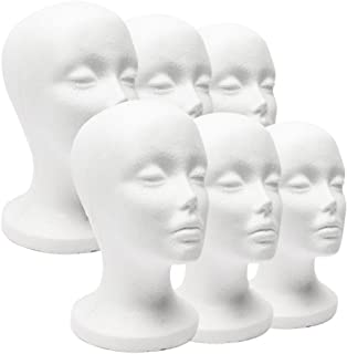 Dyllutrwhe Foam Head Female Styrofoam Female Foam Mannequin Head Model Hat Wig Jewelry Holder Shop Display Stand Rack for Salon Cosplays Shop Painting Head Models