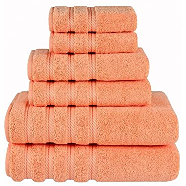 Premium, Luxury Hotel & Spa, 6 Piece Towel Set, Turkish Towels, Cotton for Maximum Softness and Absorbency by American Soft Linen, [Worth 78.95] (Malibu Peach)