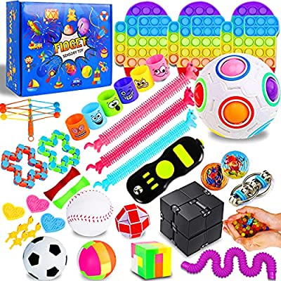 IGINOA 41 Pack Fidget Figetget Sensory Toy Box Set Push Pop Popping Figit Anxiety Autism Stress Relieve Relief Pressure Bubble Silicone Game Gift Special Need Kid Teen Adult Friend ADHD Rainbow by IGINOA