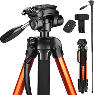 Victiv 72-inch Compact Tripod for Camera, Durable Aluminum Stand for YouTube Videos, Live Webcasts, Lightweight Monopod with Phone Mount Holder and 2QuickRelease Plates for Canon Nikon - Orange