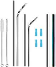 ALSISK Set of 6 Reusable Stainless Steel Metal Straws 8.5