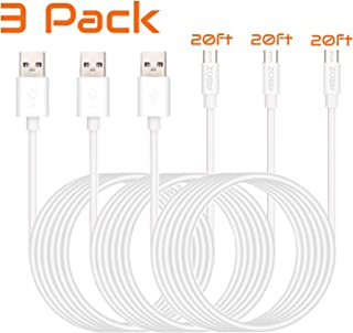 AGOZ 3Pack 20Ft Power Micro USB Extension Cable Cord for Wyze Cam, Yi Camera, Oculus Go, Echo Dot Kid, Nest Cam, Netvue, Arlo Pro Q, Blink, Furbo Dog Home Smart Security, Kasa Cam Indoor, Kasa Spot