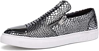 Aomoto Athletic Shoes for Men Sports Shoes Slip On Style Genuine Leather Comfortable Round Toe Snake Skin Texture
