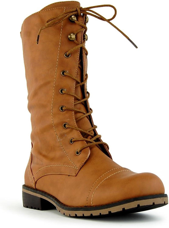 Nature Breeze Women's Lug11 Lace Up Military Mid Calf Combat Boots Tan Size 10 US