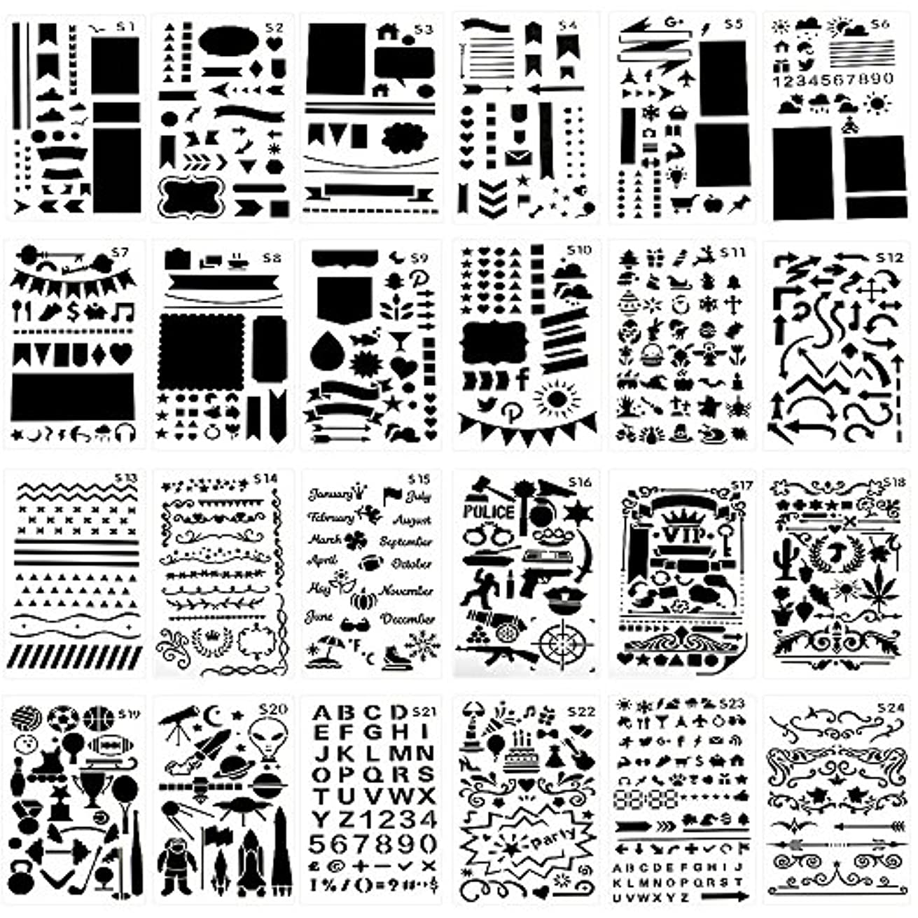 Templates Letters and Numbers, SNAGAROG 24 Templates Painting Crafts (17.8 x 10.2cm), Transparent, Painting Decoration Templates, C1-C24, Gift for Children, DIY Painting