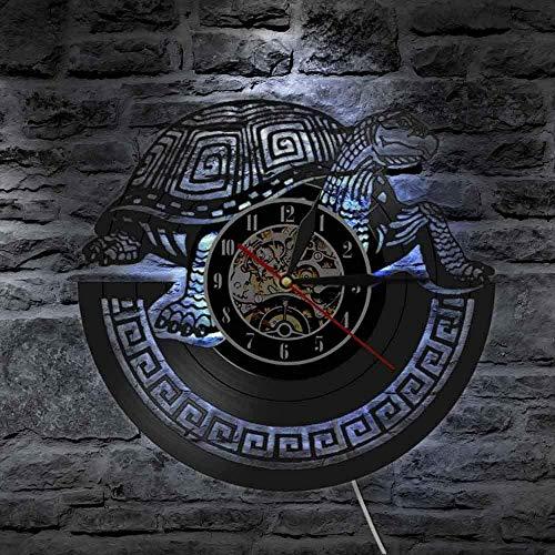 Reloj de pared con luz LED de 7 colores, diseño de tortuga tribal, estilo océano y tortuga, para habitación infantil, decoración de pared, regalo de tortuga