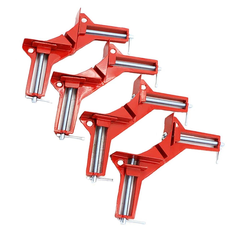 販売員一杯ピンポイントコーナー クランプ 4個 セット 90° 直角 木工定規 直角定規 直角クランプ DIY 工具 クランプ (赤 4個)