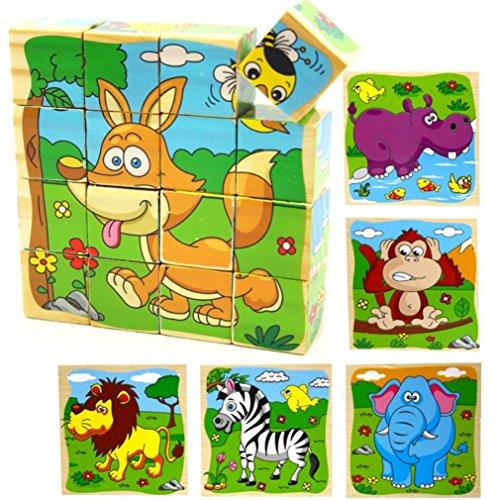 PROW Bloques de Cubo de Madera de 16 Piezas Rompecabezas, Elefante, Mono, león, hipopótamo, Cebra, Fox 6 imágenes Puzzle de 3 años niños