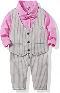 MHSH Baby Boys Vest Suit with Dress Shirt, Bowtie, Vest and Pants, 4pcs Toddler Outfit