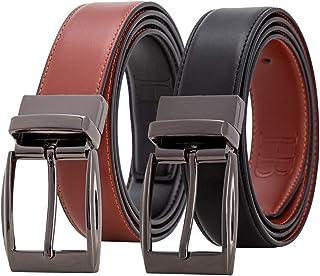 2in1 Reversible Belt, Genuine Leather, 120 cm, Adjustable Size, Gift Box Leather Belt Men Mens Belts Leather Black Belt/Br...