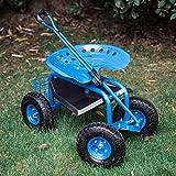 Peach Tree Garden Cart Rolling Work Seat Outdoor Utility Lawn Yard Patio...