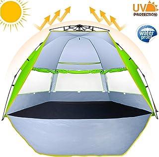 274cm 液压即时弹出式海滩帐篷自动家庭海滩遮阳棚 UPF 50+ *轻松设置豪华即时海滩遮篷玻璃纤维框架遮阳遮阳棚 适用于露营钓鱼远足