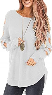 Huiyuzhi Womens Cold Shoulder Pullover Sweaters Ladder Cutout Long Sleeve Knit Jumper Tops