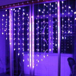 Uonlytech Lumières de Rideau en Forme D'amour Guirlandes Décoratives de Fenêtre Décoratives pour Mur Intérieur Extérieur M...